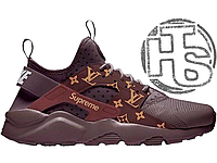 Женские кроссовки Nike Air Huarache Ultra x LV x Supreme Coffee Brown 47cc9474b82fd