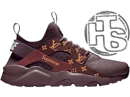 4cda40c0 Женские кроссовки Nike Air Huarache Ultra x LV x Supreme Coffee Brown, фото  2