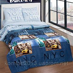 Полуторное постельное белье, Нью-Йорк Сити, поплин 100%хлопок
