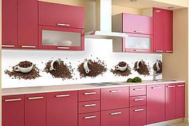 Кухонный фартук Кофейные чашки, (кухонные фартуки для кухни на стену фотопечать, скинали, кофе) 600*2500 мм