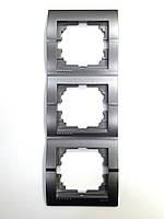Рамка тройная вертикальная тёмно-серый металлик Deriy Lezard