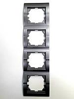 Рамка четверная вертикальная тёмно-серый металлик Deriy Lezard