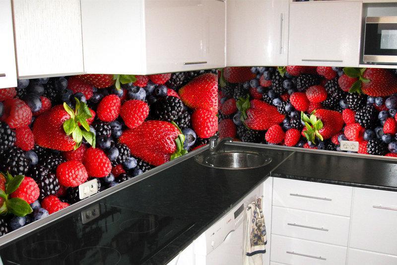Кухонный фартук Лесная ягода, (кухонные фартуки для кухни на стену фотопечать, скинали, абстракция)