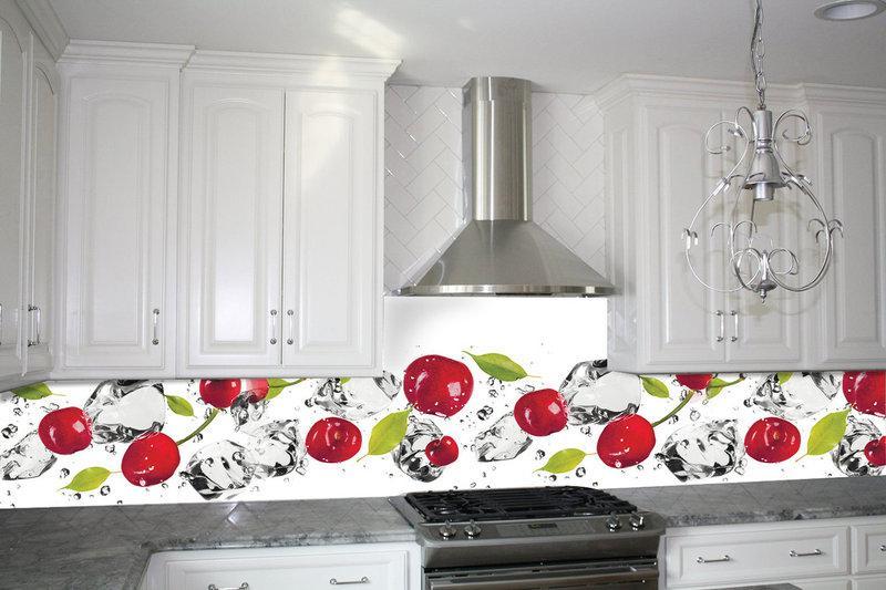 Кухонный фартук Вишня и лед, (кухонные фартуки для кухни на стену фотопечать, скинали, абстракция)