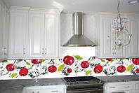 Кухонный фартук Вишня и лед (кухонные фартуки для кухни на стену фотопечать, скинали, абстракция) 600*2500 мм