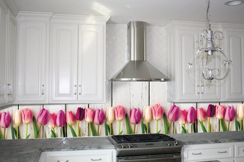 Кухонный фартук Тюльпаны, (кухонные фартуки для кухни на стену фотопечать, скинали, цветы) 600*2500 мм