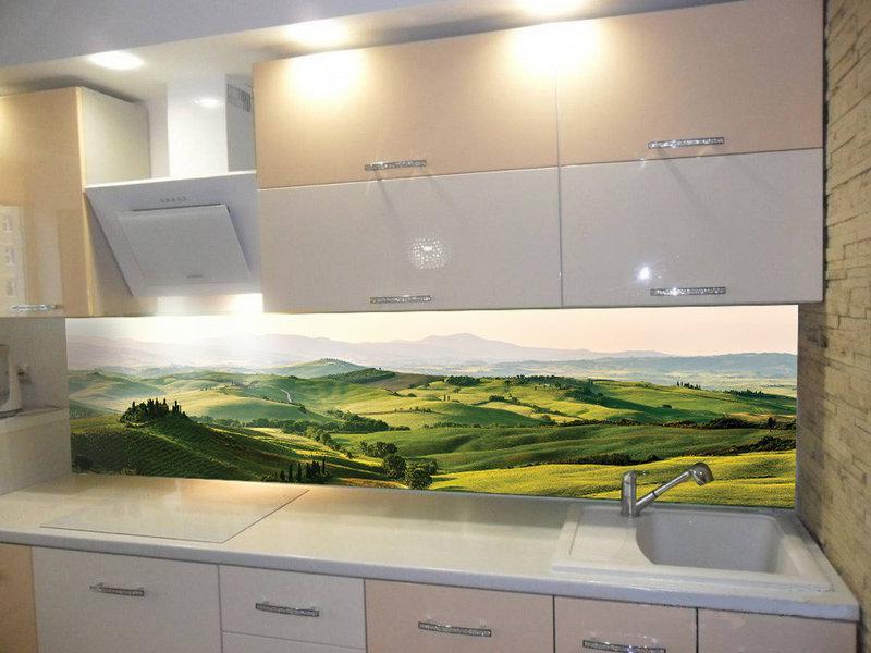 Кухонный фартук Долина, (кухонные фартуки для кухни на стену фотопечать, скинали, природа, пейзаж)