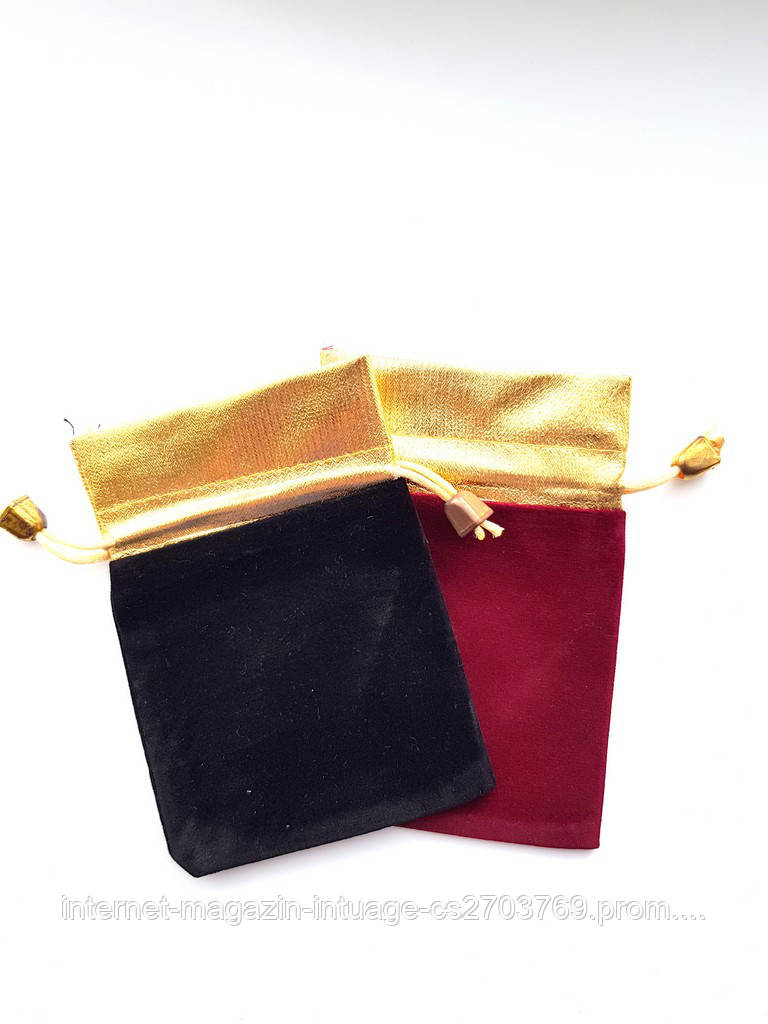 Подарочный мешочек из парчи и велюра размер 9*13 см