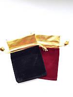 Подарочный мешочек из парчи и велюра размер 9*13 см, фото 1
