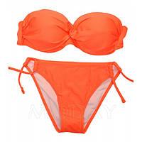 Оранжевый купальник на косточках с пуш-ап