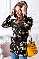 Кофта женская с капюшоном в стиле милитари