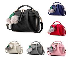 Женская сумка с ручкой Stylish bag с помпоном