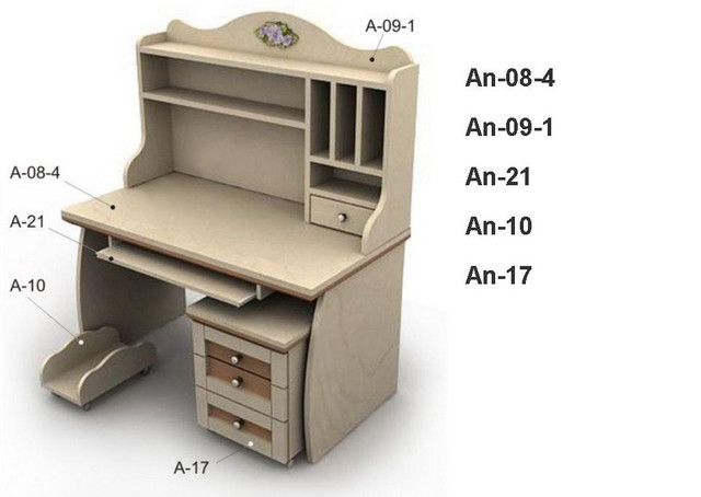Письменный стол An-08-4 Angel береза и вишня (комплектация)