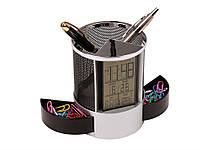 Подставка под ручки с часами, датой, термометром NoEnName  Черный