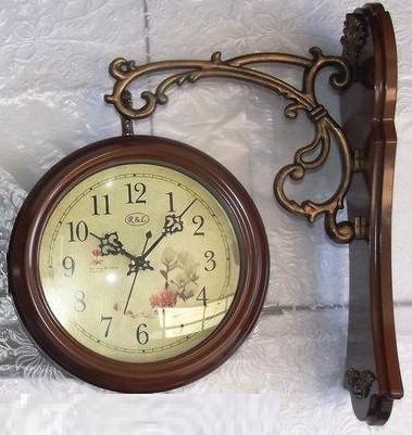 Кварцевые настенные двусторонние подвесные часы R&L RL-660