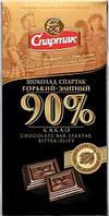Шоколад горький Спартак пенал 90г, содержание какао бобов 90%
