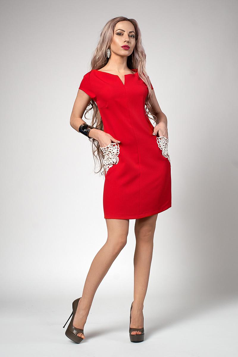 4414bf05653 Приталенное короткое платье с коротким рукавом красное - Интернет-магазин  стильной одежды