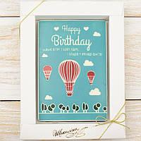 "Шоколадная открытка ""Happy Birthday"" классическое сырье. Размер: 187х142х10мм, вес 170г, фото 1"