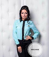 Блуза рубашка красивая с черным воротником и манжетами разные цвета RSa212, фото 1