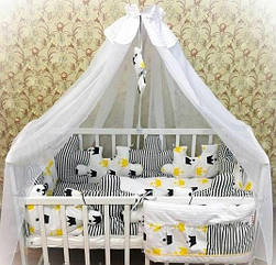Детское постельное белье Euro Pazle желтые короны с балдахином