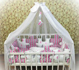 Детское постельное белье Euro Pazle малиновые зигзаги и облака с балдахином