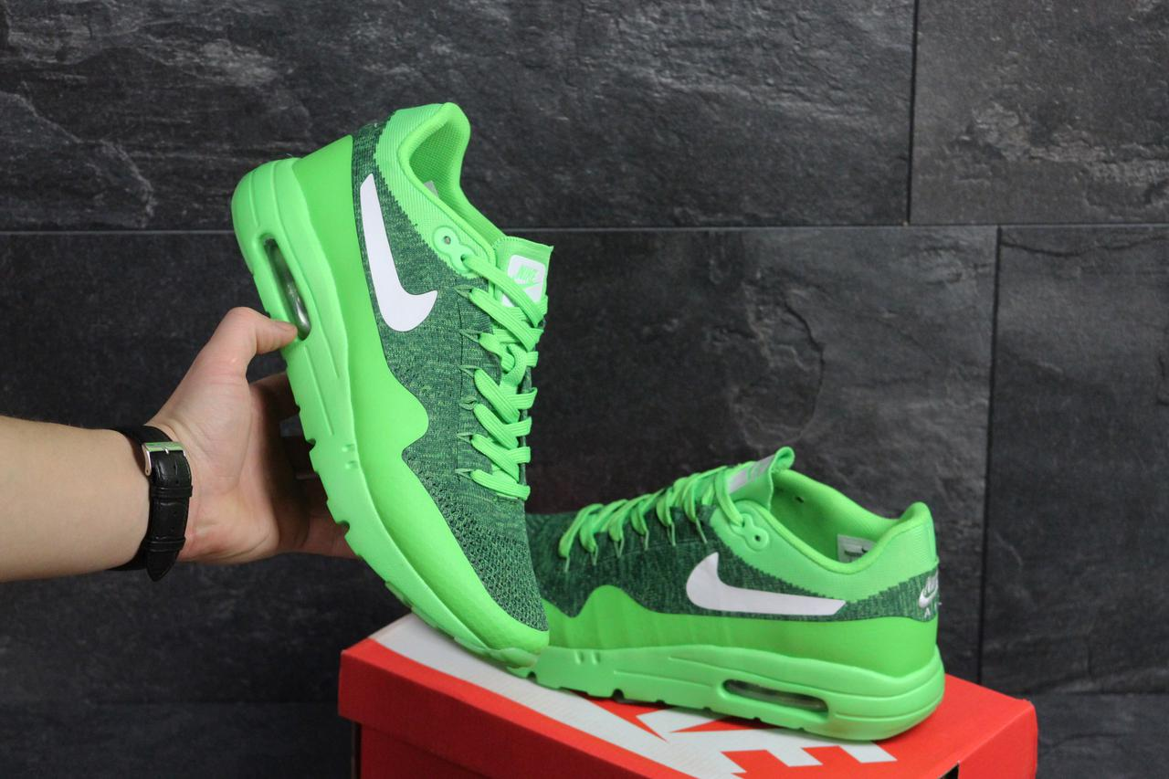 1eaa4fce Мужские кроссовки Nike Air Max 1 Flyknit салатовые (Реплика ААА+) - bonny-
