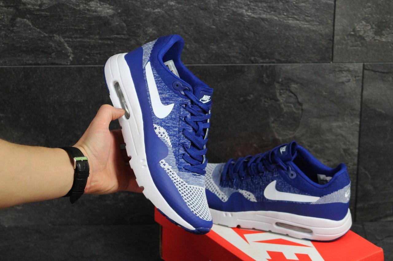 420bc744 Мужские кроссовки Nike Air Max 1 Flyknit голубые (Реплика ААА+) - bonny-