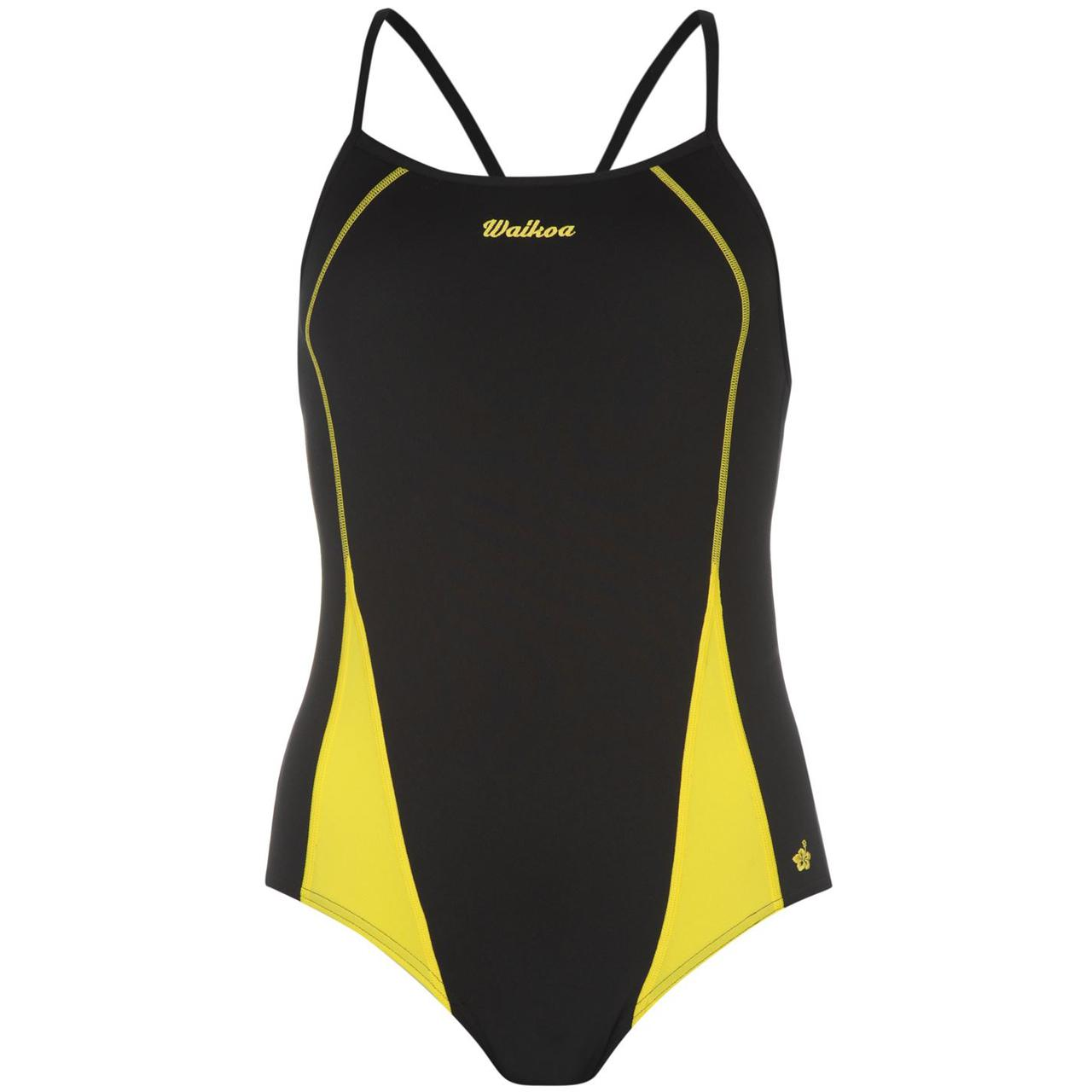 Купальник женский для плавания Waioka черно-желтый