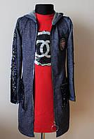 Детский кардиган и платье с пайетками 6-14 лет