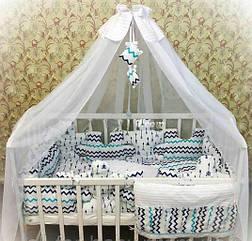 Детское постельное белье Euro Pazle мятные зигзаги и стрелы с балдахином