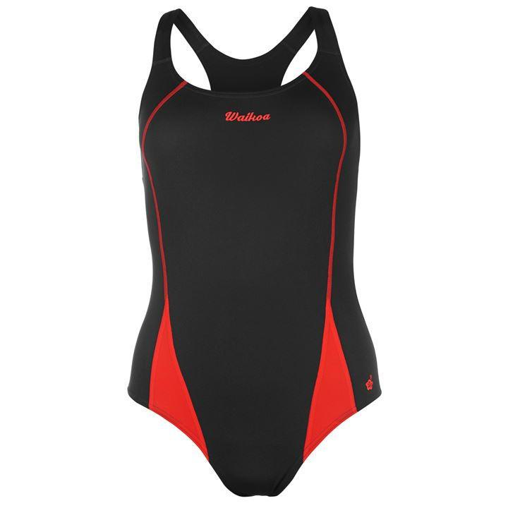 Купальник жіночий для плавання Waioka чорно-червоний