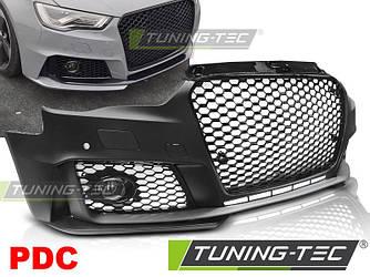 Бампер передний обвес Audi A3 8V в стиле RS3 (черный глянц) PDC