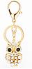 Брелок металлический со стразами Сова золотая, фото 2