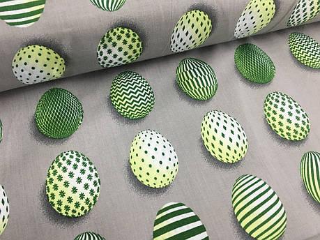 """Польская хлопковая ткань """"пасхальные яйца зеленые на сером"""", фото 2"""
