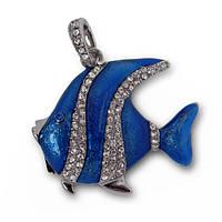 Флешка 8 Gb металл со стразами Рыбка Скалярия