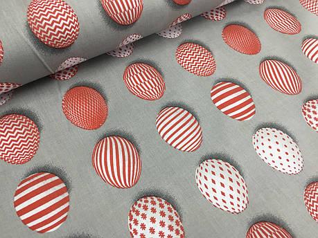 """Польская хлопковая ткань """"пасхальные яйца красные на сером"""", фото 2"""