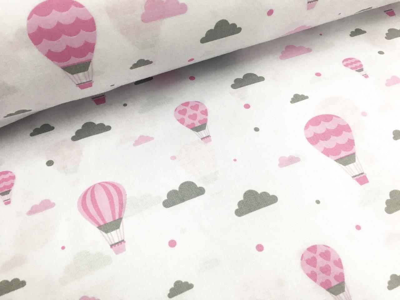 """Польская хлопковая ткань """"шары розовые на белом"""""""
