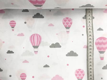 """Польская хлопковая ткань """"шары розовые на белом"""", фото 2"""