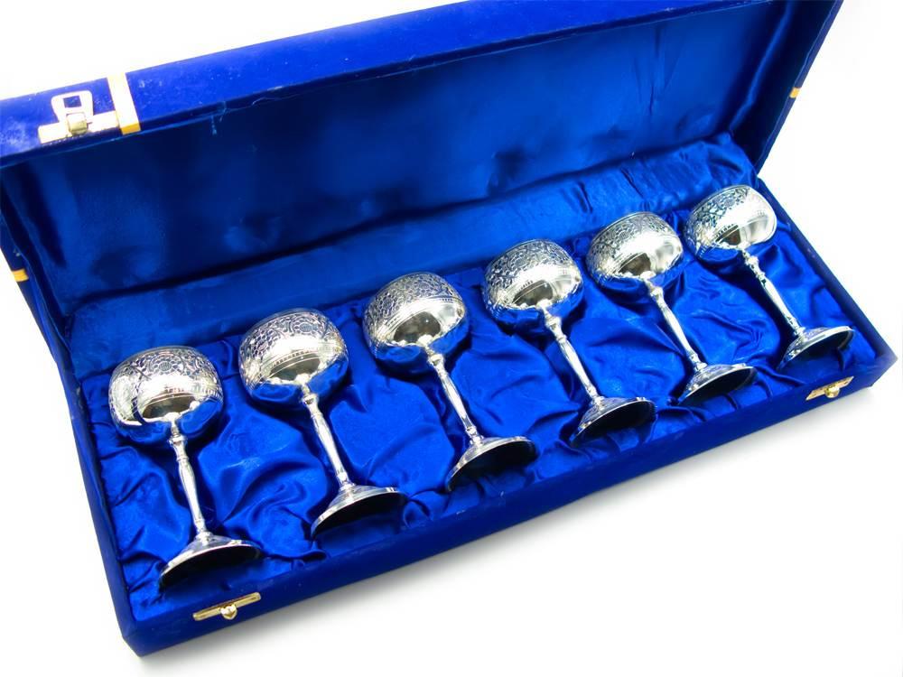 Бокалы бронзовые посеребренные подарочные (н-р 6 шт) (h-11) (44,5х15х7 см)