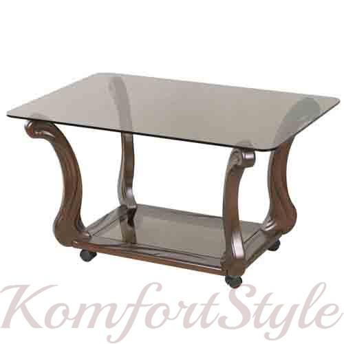 """Журнальний стіл скляний на дерев'яних опорах """"Стиль"""" на колесах"""