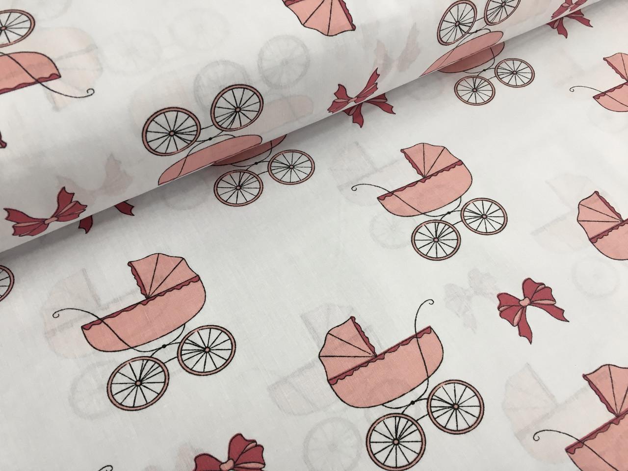 """Польская хлопковая ткань """"детские коляски розовые на белом"""""""