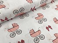 """Польская хлопковая ткань """"детские каляски розовые на белом"""""""