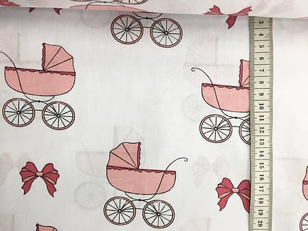 """Польская хлопковая ткань """"детские коляски розовые на белом"""", фото 2"""