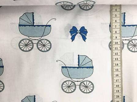 """Польская хлопковая ткань """"детские коляски голубые на белом"""", фото 2"""