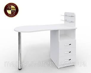 """Маникюрный стол c стеклянными полочками под лак """"Эстет  №1"""" ваниль"""