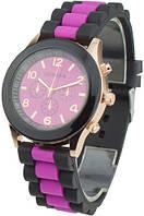 Женские кварцевые наручные часы Geneva силиконовые черные с розовым