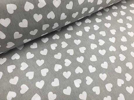 """Польская хлопковая ткань """"сердца белые на сером"""", фото 2"""