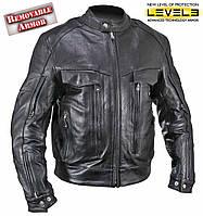 Мужская мотокуртка Xelement B4495 со съёмной защитой локтей плеч Level-III из кожи буйвола черного цвета