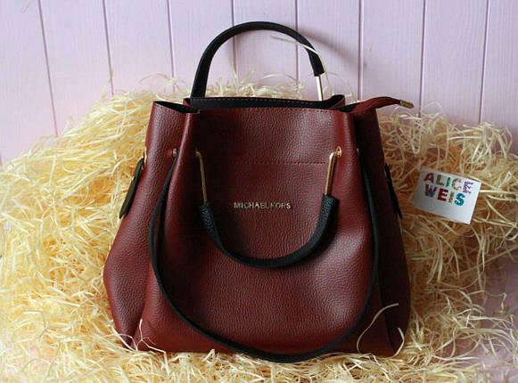 71ac691415a3 Женская сумка бордового цвета с ручками черного цвета - Цена 440 грн ...