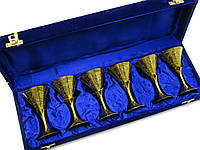 Бокалы из бронзы позолоченные (н-р 6 шт) (h-11 см) (43х15х8 см)